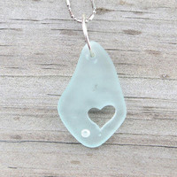 Pale Aqua Sea Glass Heart Necklace Beach Boho Summer Style Fashion Crystal by Wave of Life