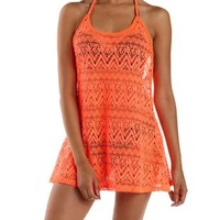 Chevron Mesh T-Back Tank Cover-Up by Charlotte Russe