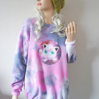 S/M/L Jiggly Puff Astral Galaxy Pokemon 90s Long Oversized Grunge Tie Dye Jumper