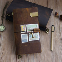 Handmade Vintage Genuine Leather Adventure Travel Journal Notebook Midori Style