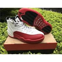 Air Jordan 12 White Red Basketball Shoes 36-47