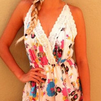 Printed Lace Trim Backless Romper