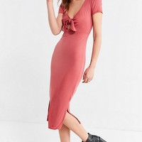 UO Tie-Front Ribbed Knit Midi Dress | Urban Outfitters