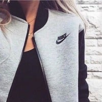 "Fashion Women ""NIKE"" Zip Cardigan Jacket Coat G"