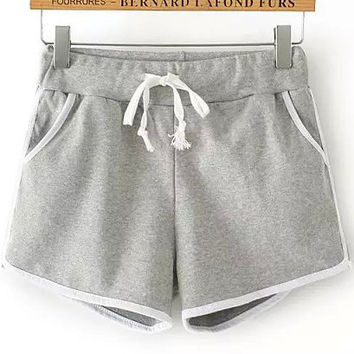 Grey Drawstring Waist Contrast Trims Jogger Shorts