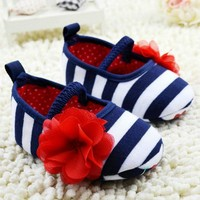 Baby Striped Rose Shoes