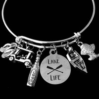 Lake Life Jewelry Adjustable Bracelet Expandable Silver Charm Bangle Golf Cart Flip Flops Fishing One Size Fits All Gift Summer