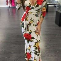 White Floral Print Sashes Deep V-neck 3/4 Sleeve Homecoming Party Maxi Dress