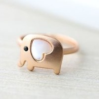Elephant Ring Pearl Heart Animal Jewelry Adjustable Free Size Gift Idea