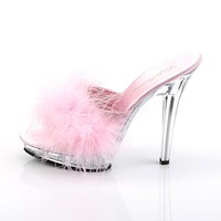 "Lip 101-8  Marabou Feather 5"" High Heel Slip On Shoe Light Pink"