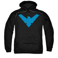 Batman Men's  Nightwing Symbol Hooded Sweatshirt Black Rockabilia