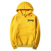 """Thrasher""Quality hooded sweater flame slide hip sweater Letters on the side Yellow"