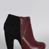 Women's Bamboo Two Tone Quilted Ankle Bootie