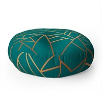 Elisabeth Fredriksson Copper and Teal Floor Pillow Round