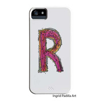 Whimsical R Monogramed Phone case, Personalized, Letter R iPhone Case, iPhone 5 case, Galaxy S3 Case, Galaxy S4 case, by Ingrid Padilla