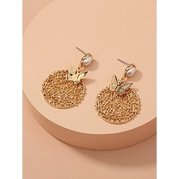 Hollow Out Round & Butterfly Charm Drop Earrings
