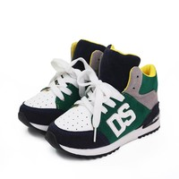 Boys Girls Shoes High Sneakers Children School Leather Breathable Running Shoes Kids Flats Sports Patchwork Fashion Casual Boots