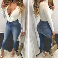 Women's clothing Sexy hole Jeans