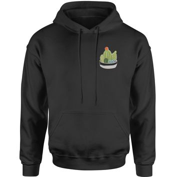 Embroidered Cactus Succulents Patch (Pocket Print) Adult Hoodie Sweatshirt