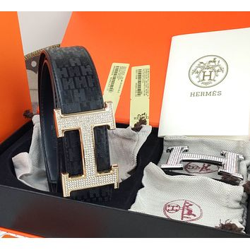 Hermes Classic Letter Embossed H Diamond Letter Gold Silver Double Buckle Head Exchangeable Belt