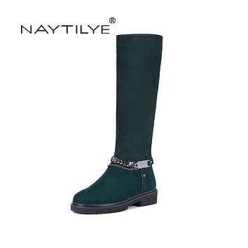NAYTILYE New 2017 Fashion classic suedette high boots shoes woman winter round toe zipper with chain black red green 35-41 size