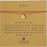 Dogeared Gold Make A Wish Happy Buddha Red Necklace, 16""