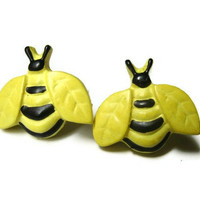Bumble Bee Earrings, Studs, Yellow and Black, Choice of  Silver Toned or Hypoallergenic Surgical Steel Posts