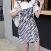 """DIOR""Woman's Leisure  Fashion Letter Printing Short Sleeve  Strap Dress Two-Piece Set Casual Wear"