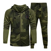 Men Sets Camouflage Casual Tracksuit Spring New Camo Jacket+Pants Sets Men'S Sportswear Hooded Sweatshirt Sweatsuit Outdoor
