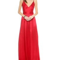V-Neck Strappy Backless Chiffon Maxi Dress