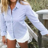 Classic Stance Navy And White Pinstripe Collar Button Down Blouse