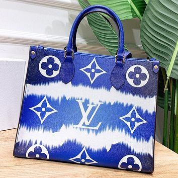 LV New fashion monogram print leather shoulder bag handbag crossbody bag Blue
