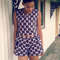 African Watermelon Print Co-ord // Two Piece Shorts and Crop Top Set