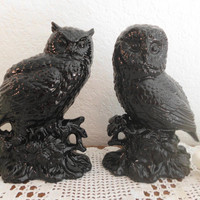 Halloween Black Owl Set Shiny Ceramic Figurine Library Den Office Gothic Retro Home Decor Rustic Outdoor  Woodland Barn Wedding Decoration