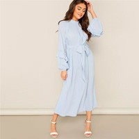 Lady Casual Blue Frill Neck Belted Solid Pleated Maxi Dress Women Elegant Stand Collar Bishop Sleeve Party Dresses