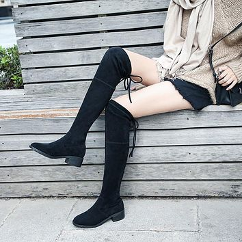 Sexy Slim Fit Elastic Flock Leather Over The Knee Boots Women shoes 2019 Autumn Winter ladies high heel Long Thigh High botas