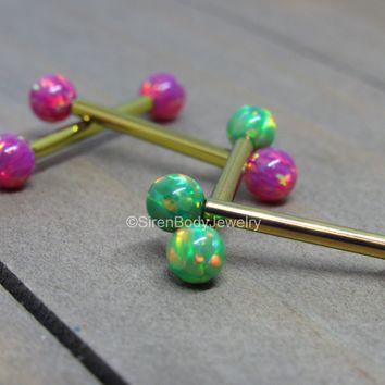 Titanium opal nipple rings 14g 4mm opals internally threaded hypoallergenic straight barbells