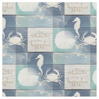 Beach Happy Place Blue Aqua Old Wood Sea Fabric