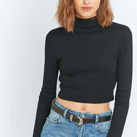 Urban Outfitters Ribbed Cropped Turtleneck Top - Urban Outfitters