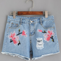 Blue Ripped Flower Embroidered Raw Hem Denim Shorts