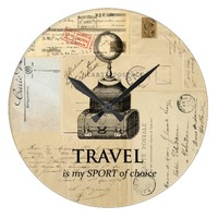 Travel is my Sport Vintage Globe French Wall Clock