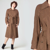 70s Houndstooth Belted Coat / Light Brown Oxblood Hunter Green Midi Wool Coat / English Vibe Funky Medium M Coat