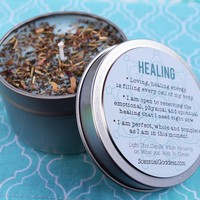 HEALING Herbal Intention Candle - Use During Emotional Work & To Wish For Speedy Recovery