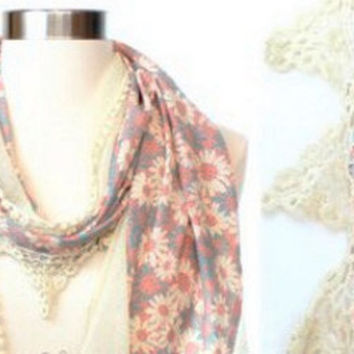Ivory Lace Scarf Pink Floral Women Fashion Accessories Gift Online