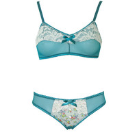 Teal Mesh and Lace Bralette with Matching Bikini Pantie and Satin Buttons