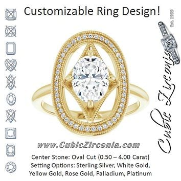Cubic Zirconia Engagement Ring- The Mireya (Customizable Kite-Rhombus Oval Cut Design with Beaded Milgrain & Halo Accents)