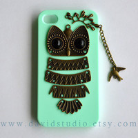 iPhone 4 Case, iPhone 4S Case, owl phone Cases,Mint Green Case,branch and bird,cute owl case,friendship gift
