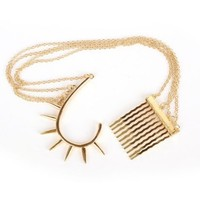 Vintage Womens Gold-tone Connected Hair Comb Cable Chain Curved Spike Rivet Ear Cuff Earring