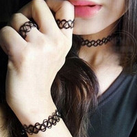 3Pcs Women Punk Style Tattoo Bracelet & Ring & Choker Necklace + Gift Box