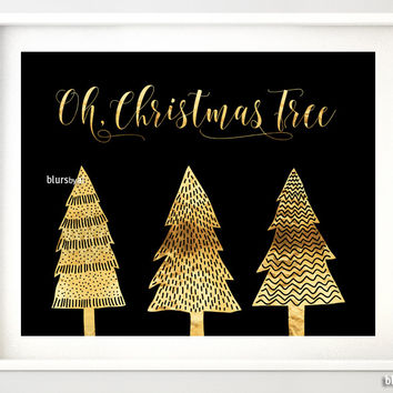 Oh Christmas Tree print in black and gold foil featuring whimsical trees